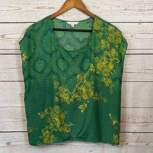 CAbi Capped Sleeve Sheer Blouse